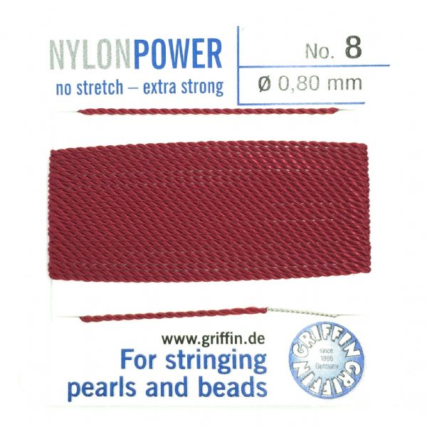 Griffin Bead Cord - Nylon Power - GARNET - Choose size of thread